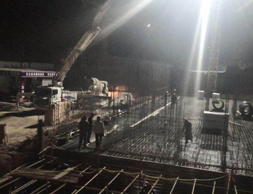 汇富嘉和苑项目5号楼筏板大体积混凝土浇筑 顺利完成